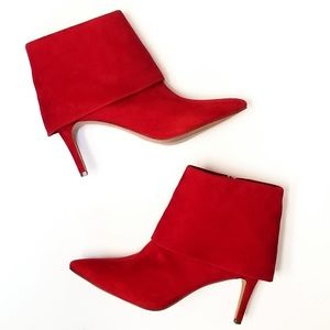 🎯 Red Leather Ankle Boots